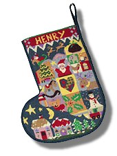 Jolly Red 'Dreaming of Christmas' Tapestry Christmas Stocking
