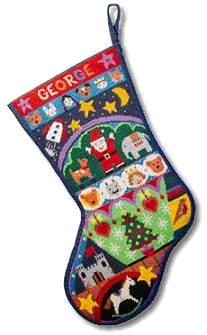 Jolly Red 'Fairytale' Tapestry Christmas Stocking