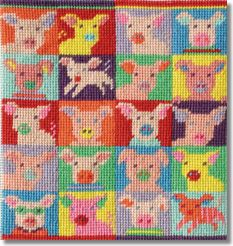 Jolly Red Pop Art Pigs Tapestry Kit