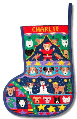 Jolly Red 'Puppies' Christmas Stocking Tapestry Kit