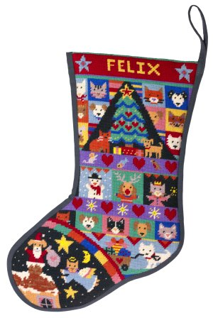 Jolly Red 'Cats & Dogs' Christmas Stocking Tapestry Kit