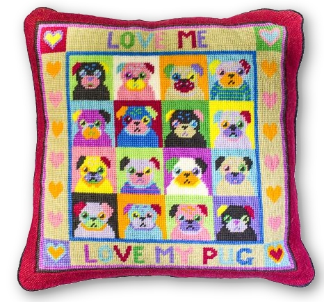 Jolly Red 'Love Me, Love My Pug' Tapestry Kit
