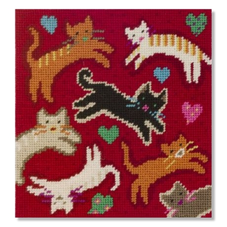 Jolly Red 'Flying Felines' Tapestry Kit