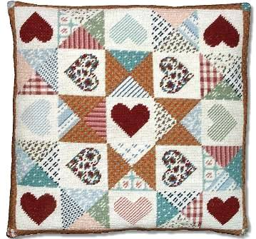 Millennia Designs Patchwork Heart Quilt Cushion