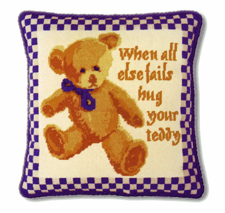 One Off Blue Check Teddy Tapestry Kit