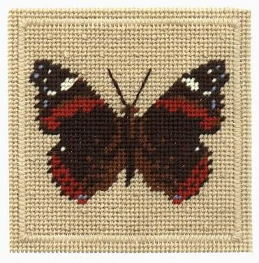 One Off Red Admiral Butterfly Tapestry Pincushion Kit