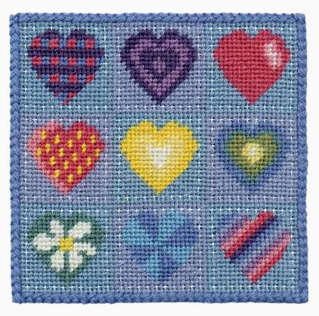 One Off Hearts Tapestry Pincushion Kit