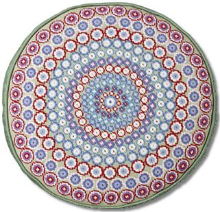 One Off Green Millefiori Tapestry Cushion - Round