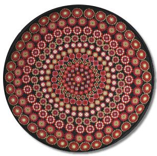 One Off Black Millefiori Tapestry Cushion - Round
