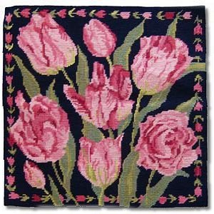 Primavera Navy China Tulips Tapestry Kit
